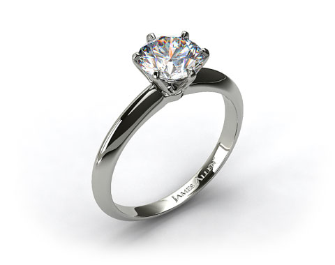 Platinum Six Prong Knife Edged Solitaire Engagement Ring (Handmade)
